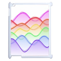 Twizzling Brain Waves Neon Wave Rainbow Color Pink Red Yellow Green Purple Blue Apple Ipad 2 Case (white) by Alisyart