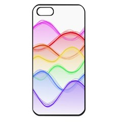 Twizzling Brain Waves Neon Wave Rainbow Color Pink Red Yellow Green Purple Blue Apple Iphone 5 Seamless Case (black) by Alisyart