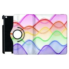 Twizzling Brain Waves Neon Wave Rainbow Color Pink Red Yellow Green Purple Blue Apple Ipad 2 Flip 360 Case by Alisyart