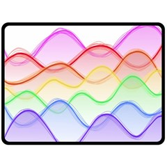 Twizzling Brain Waves Neon Wave Rainbow Color Pink Red Yellow Green Purple Blue Double Sided Fleece Blanket (large)  by Alisyart