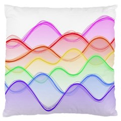 Twizzling Brain Waves Neon Wave Rainbow Color Pink Red Yellow Green Purple Blue Large Flano Cushion Case (two Sides) by Alisyart