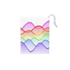 Twizzling Brain Waves Neon Wave Rainbow Color Pink Red Yellow Green Purple Blue Drawstring Pouches (xs)  by Alisyart