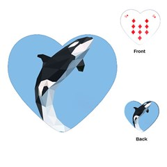 Whale Animals Sea Beach Blue Jump Illustrations Playing Cards (heart)  by Alisyart