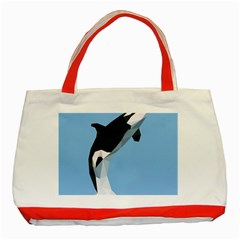 Whale Animals Sea Beach Blue Jump Illustrations Classic Tote Bag (red) by Alisyart