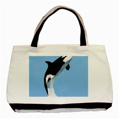 Whale Animals Sea Beach Blue Jump Illustrations Basic Tote Bag (two Sides) by Alisyart