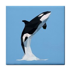 Whale Animals Sea Beach Blue Jump Illustrations Face Towel by Alisyart