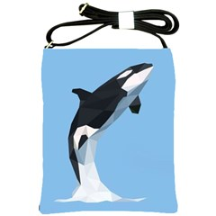 Whale Animals Sea Beach Blue Jump Illustrations Shoulder Sling Bags by Alisyart