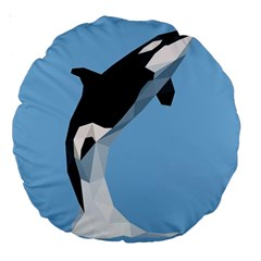 Whale Animals Sea Beach Blue Jump Illustrations Large 18  Premium Round Cushions by Alisyart