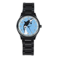 Whale Animals Sea Beach Blue Jump Illustrations Stainless Steel Round Watch by Alisyart