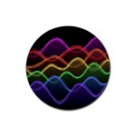 Twizzling Brain Waves Neon Wave Rainbow Color Pink Red Yellow Green Purple Blue Black Rubber Coaster (Round)  Front