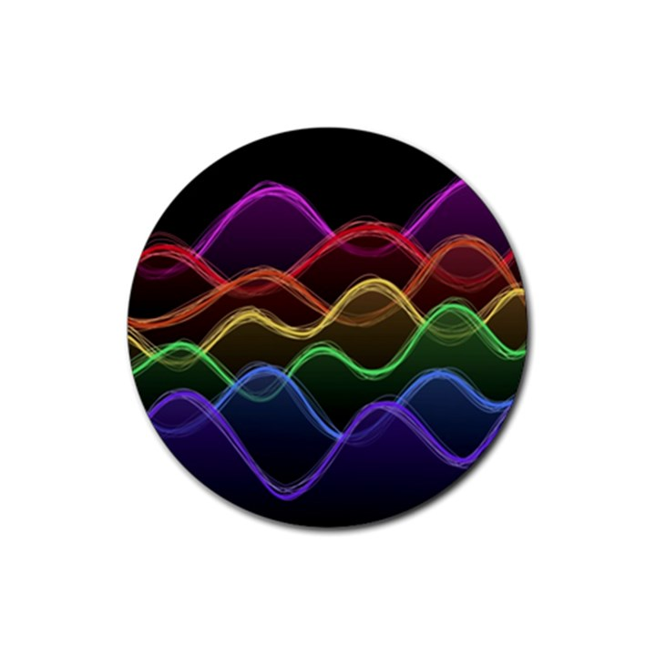 Twizzling Brain Waves Neon Wave Rainbow Color Pink Red Yellow Green Purple Blue Black Rubber Coaster (Round)