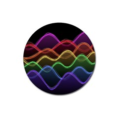 Twizzling Brain Waves Neon Wave Rainbow Color Pink Red Yellow Green Purple Blue Black Magnet 3  (round) by Alisyart