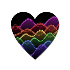 Twizzling Brain Waves Neon Wave Rainbow Color Pink Red Yellow Green Purple Blue Black Heart Magnet by Alisyart