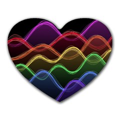 Twizzling Brain Waves Neon Wave Rainbow Color Pink Red Yellow Green Purple Blue Black Heart Mousepads by Alisyart