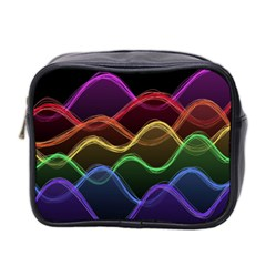 Twizzling Brain Waves Neon Wave Rainbow Color Pink Red Yellow Green Purple Blue Black Mini Toiletries Bag 2 Side by Alisyart