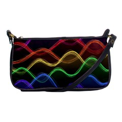 Twizzling Brain Waves Neon Wave Rainbow Color Pink Red Yellow Green Purple Blue Black Shoulder Clutch Bags by Alisyart