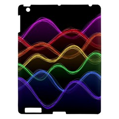 Twizzling Brain Waves Neon Wave Rainbow Color Pink Red Yellow Green Purple Blue Black Apple Ipad 3/4 Hardshell Case by Alisyart