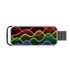 Twizzling Brain Waves Neon Wave Rainbow Color Pink Red Yellow Green Purple Blue Black Portable Usb Flash (one Side) by Alisyart