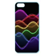 Twizzling Brain Waves Neon Wave Rainbow Color Pink Red Yellow Green Purple Blue Black Apple Seamless Iphone 5 Case (color) by Alisyart