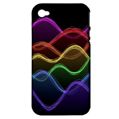 Twizzling Brain Waves Neon Wave Rainbow Color Pink Red Yellow Green Purple Blue Black Apple Iphone 4/4s Hardshell Case (pc+silicone) by Alisyart