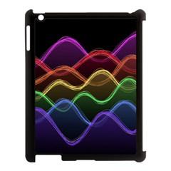 Twizzling Brain Waves Neon Wave Rainbow Color Pink Red Yellow Green Purple Blue Black Apple Ipad 3/4 Case (black) by Alisyart