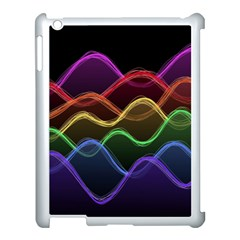 Twizzling Brain Waves Neon Wave Rainbow Color Pink Red Yellow Green Purple Blue Black Apple Ipad 3/4 Case (white) by Alisyart