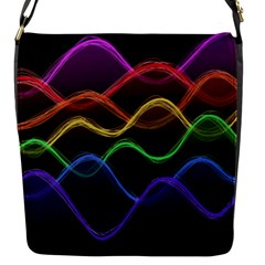 Twizzling Brain Waves Neon Wave Rainbow Color Pink Red Yellow Green Purple Blue Black Flap Messenger Bag (s) by Alisyart