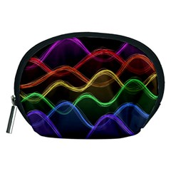 Twizzling Brain Waves Neon Wave Rainbow Color Pink Red Yellow Green Purple Blue Black Accessory Pouches (medium)  by Alisyart