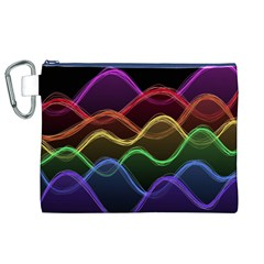 Twizzling Brain Waves Neon Wave Rainbow Color Pink Red Yellow Green Purple Blue Black Canvas Cosmetic Bag (xl) by Alisyart