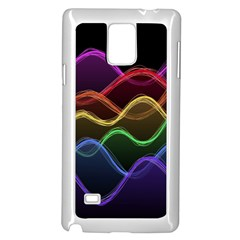Twizzling Brain Waves Neon Wave Rainbow Color Pink Red Yellow Green Purple Blue Black Samsung Galaxy Note 4 Case (white) by Alisyart