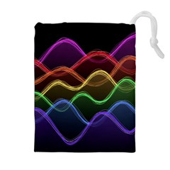 Twizzling Brain Waves Neon Wave Rainbow Color Pink Red Yellow Green Purple Blue Black Drawstring Pouches (extra Large) by Alisyart