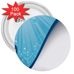 Water Bubble Waves Blue Wave 3  Buttons (100 Pack)  by Alisyart