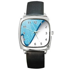 Water Bubble Waves Blue Wave Square Metal Watch by Alisyart