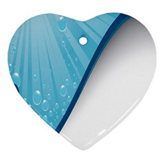 Water Bubble Waves Blue Wave Heart Ornament (two Sides) by Alisyart