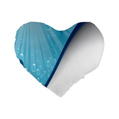 Water Bubble Waves Blue Wave Standard 16  Premium Flano Heart Shape Cushions by Alisyart