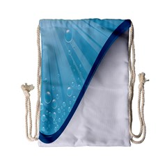 Water Bubble Waves Blue Wave Drawstring Bag (small) by Alisyart