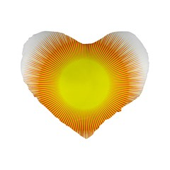 Sunlight Sun Orange Yellow Light Standard 16  Premium Heart Shape Cushions by Alisyart