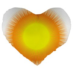 Sunlight Sun Orange Yellow Light Large 19  Premium Flano Heart Shape Cushions by Alisyart