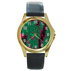Reaction Diffusion Green Purple Round Gold Metal Watch by Alisyart