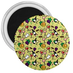 Wine Cheede Fruit Purple Yellow 3  Magnets by Alisyart