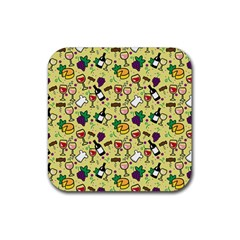 Wine Cheede Fruit Purple Yellow Rubber Square Coaster (4 Pack)  by Alisyart