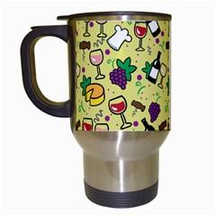Wine Cheede Fruit Purple Yellow Travel Mugs (white) by Alisyart
