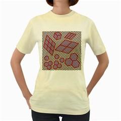 Triangle Plaid Circle Purple Grey Red Women s Yellow T Shirt by Alisyart
