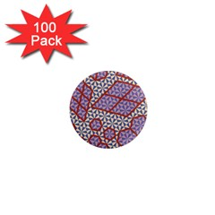Triangle Plaid Circle Purple Grey Red 1  Mini Magnets (100 Pack)  by Alisyart