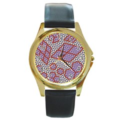 Triangle Plaid Circle Purple Grey Red Round Gold Metal Watch by Alisyart