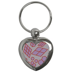 Triangle Plaid Circle Purple Grey Red Key Chains (heart)  by Alisyart