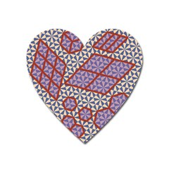 Triangle Plaid Circle Purple Grey Red Heart Magnet by Alisyart