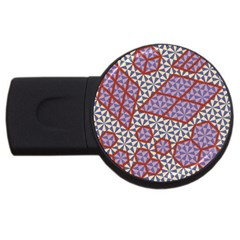 Triangle Plaid Circle Purple Grey Red Usb Flash Drive Round (4 Gb) by Alisyart