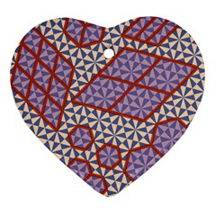 Triangle Plaid Circle Purple Grey Red Heart Ornament (two Sides) by Alisyart