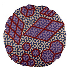 Triangle Plaid Circle Purple Grey Red Large 18  Premium Round Cushions by Alisyart